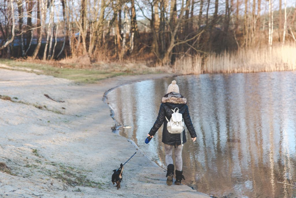Woman and puppy on walk by lake